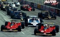 Gilles Villeneuve, al volante del Ferrari 312 T4 (nº 12), obtenía la victoria en el GP de EEUU del Oeste de 1979, disputado en el circuito urbano de Long Beach.