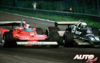 Gilles Villeneuve (Ferrari 312 T4) disputándole la posición a Riccardo Patrese (Arrows-Ford A1B) durante el GP de Bélgica de 1979, celebrado en el circuito de Zolder.