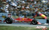 Gilles Villeneuve, al volante del Ferrari 312 T4, durante el GP de Alemania de 1979, disputado en el circuito de Hockenheim.