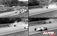 Gilles Villeneuve, al volante del Ferrari 312 T4 realizaba un trompo cuando era líder del GP de Holanda de 1979, disputado en el circuito de Zandvoort.