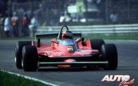 Gilles Villeneuve, al volante del Ferrari 312 T4, durante el GP de Italia de 1979, disputado en el circuito de Monza.