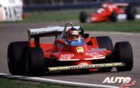 Gilles Villeneuve, al volante del Ferrari 312 T4, durante el GP Dino Ferrari de 1979, disputado en el circuito de Imola, prueba que no fue puntuable para el Campeonato del Mundo de Fórmula 1 de 1979.