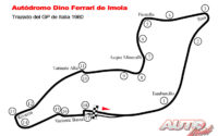 Trazado del Autódromo Dino Ferrari de Imola durante el GP de Italia 1980 de Fórmula 1.