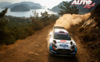 Gus Greensmith, al volante del Ford Fiesta WRC, durante el Rally de Turquía 2020, puntuable para el Campeonato del Mundo de Rallies WRC.