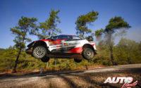 Sébastien Ogier, al volante del Toyota Yaris WRC, durante el Rally de Turquía 2020, puntuable para el Campeonato del Mundo de Rallies WRC.