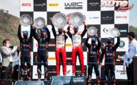 Podio del Rally deTurquía 2020, puntuable para el Campeonato del Mundo de Rallies WRC 2020. De izquierda a derecha: Nicolas Gilsoul y Thierry Neuville (Hyundai), Scott Martin con Elfyn Evans (Toyota) y Daniel Elena junto a Sébastien Loeb (Hyundai).