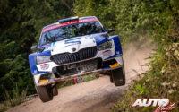 Egon Kaur, al volante del Skoda Fabia R5 EVO, durante el Rally de Estonia 2020, puntuable para el Campeonato del Mundo de Rallies WRC 3.