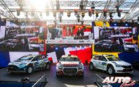 Mads Ostberg (Citroën), Adrien Fourmaux (Ford) y Pontus Tidemand (Skoda) subidos en el podio del Rally de Estonia 2020, en la categoría WRC 2.