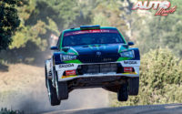 Oliver Solberg, al volante del Skoda Fabia R5 Evo WRC 3, durante el Rally de Italia / Cerdeña 2020, puntuable para el Campeonato del Mundo de Rallies WRC 3.