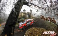 Umberto Scandola, al volante del Hyundai i20 NG R5 WRC 3, durante el Rally de Monza 2020, puntuable para el Campeonato del Mundo de Rallies WRC 3.