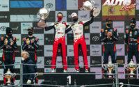 Podio del Rally de Monza 2020, puntuable para el Campeonato del Mundo de Rallies 2020. De izquierda a derecha: Carlos del Barrio y Dani Sordo (Hyundai), Julen Ingrassia con Sébastien Ogier (Toyota) y Ott Tänak junto a Martin Järveoja (Hyundai).