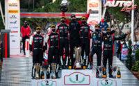 Podio del Rally de Montecarlo 2021, puntuable para el Campeonato del Mundo de Rallies 2021. De izquierda a derecha: Scott Martin y Elfyn Evans (Toyota), Julien Ingrassia con Jari-Matti Latvala (CEO de Toyota) y Sébastien Ogier (Toyota) y Thierry Neuville junto a Martijn Wydaeghe (Hyundai).