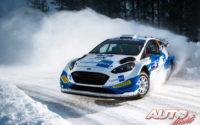 Janne Tuohino, al volante del Ford Fiesta WRC, durante el Rally Ártico de Finlandia 2021, puntuable para el Campeonato del Mundo de Rallies WRC.
