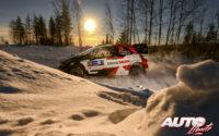 Elfyn Evans, al volante del Toyota Yaris WRC, durante el Rally Ártico de Finlandia 2021, puntuable para el Campeonato del Mundo de Rallies WRC.