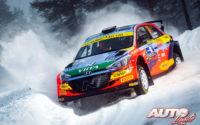 Jari Huttunen, al volante del Hyundai NG i20 Rally 2, durante el Rally Ártico de Finlandia 2021, puntuable para el Campeonato del Mundo de Rallies WRC 2.