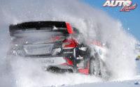 """Travis Pastrana, al volante del Subaru WRX STI, durante unas pruebas del Rally Perce-Neige 2017 (Canadá), puntuable para la Copa Norteamericana de Rallies """"NARC"""" (""""North American Rally Cup"""")."""