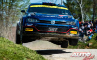 Nikolay Gryazin, al volante del Volkswagen Polo GTI Rally2 WRC 2, durante el Rally de Croacia 2021, puntuable para el Campeonato del Mundo de Rallies WRC 2.
