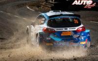 Tom Kristensson, al volante del Ford Fiesta Rally2 Mk2 WRC 2, durante el Rally de Croacia 2021, puntuable para el Campeonato del Mundo de Rallies WRC 2.