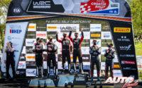 Podio del Rally de Croacia 2021, puntuable para el Campeonato del Mundo de Rallies WRC 2021. De izquierda a derecha: Scott Martin y Elfyn Evans (Toyota), Julien Ingrassia con Sébastien Ogier (Toyota) y Thierry Neuville junto a Martijn Wydaeghe (Hyundai).