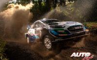 Gus Greensmith, al volante del Ford Fiesta WRC, durante el Rally Safari de Kenia 2021, puntuable para el Campeonato del Mundo de Rallies WRC.