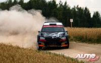Alexey Lukyanuk, al volante del Skoda Fabia Rally2 Evo WRC 3, durante el Rally de Estonia 2021, puntuable para el Campeonato del Mundo de Rallies WRC 3.