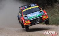 Jari Huttunen, al volante del Hyundai NG i20 Rally 2 WRC 2, durante el Rally de Estonia 2021, puntuable para el Campeonato del Mundo de Rallies WRC 2.