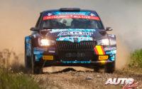 Miguel Díaz Aboitiz, al volante del Skoda Fabia Rally2 Evo WRC 3, durante el Rally de Estonia 2021, puntuable para el Campeonato del Mundo de Rallies WRC 3.