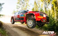 Mads Ostberg, al volante del Citroën C3 Rally2 de la categoría WRC 2, durante el Rally de Estonia 2021, puntuable para el Campeonato del Mundo de Rallies WRC 2.