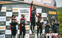 Podio del Rally de Italia / Cerdeña 2021, puntuable para el Campeonato del Mundo de Rallies WRC 2021. De izquierda a derecha: Scott Martin y Elfyn Evans (Toyota), Sébastien Ogier con Julien Ingrassia (Toyota) y Martijn Wydaeghe junto a Thierry Neuville (Hyundai).