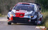 Elfyn Evans, al volante del Toyota Yaris WRC, durante el Rally de Bélgica 2021, puntuable para el Campeonato del Mundo de Rallies WRC.