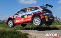 Jari Huttunen, al volante del Hyundai i20 N Rally2, durante el Rally de Bélgica 2021, puntuable para el Campeonato del Mundo de Rallies WRC 2.