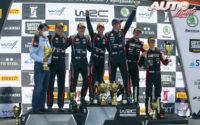 Podio del Rally de Bélgica 2021, puntuable para el Campeonato del Mundo de Rallies WRC 2021. De izquierda a derecha: Scott Noh (Presidente de Hyundai Motorsport), Paul Nagle y Craig Breen (Hyundai), Martijn Wydaeghe con Thierry Neuville (Hyundai) y Jonne Halttunen junto a Kalle Rovanperä (Toyota).
