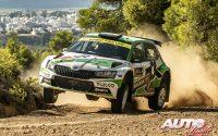 Marco Bulacia, al volante del Skoda Fabia Rally2 Evo WRC 2, durante el Rally de Grecia 2021, puntuable para el Campeonato del Mundo de Rallies WRC 2.