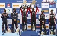Podio del Rally de Grecia 2021, puntuable para el Campeonato del Mundo de Rallies WRC 2021. De izquierda a derecha: Martin Järveoja y Ott Tänak (Toyota), Kalle Rovanperä con Jonne Halttunen (Toyota) y Sébastien Ogier junto a Julien Ingrassia (Toyota).